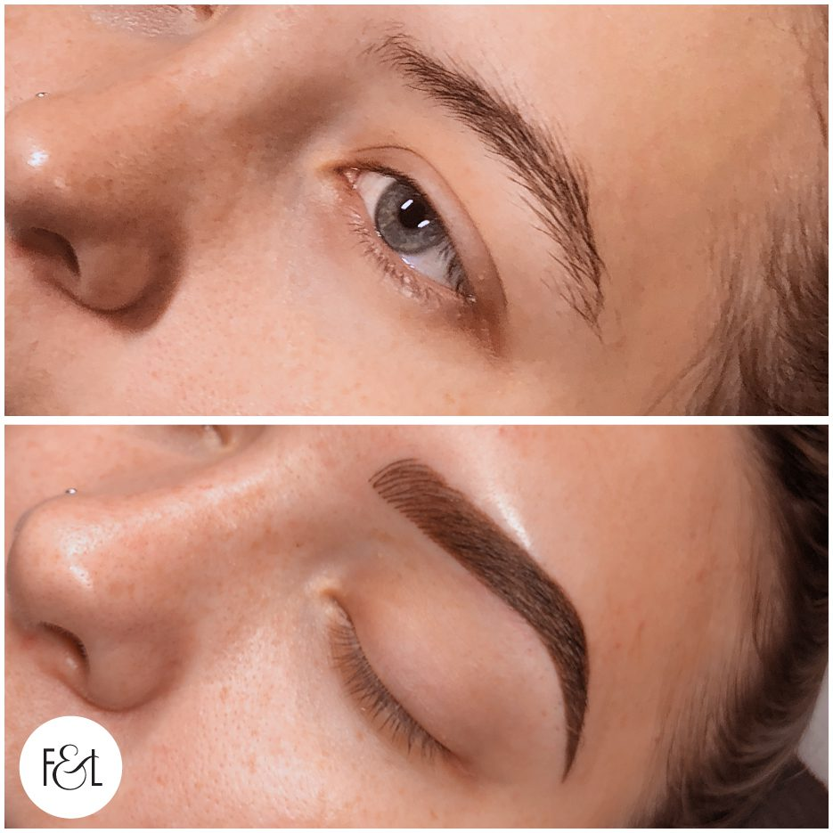 Combination Eyebrow Tattoo - Before and After