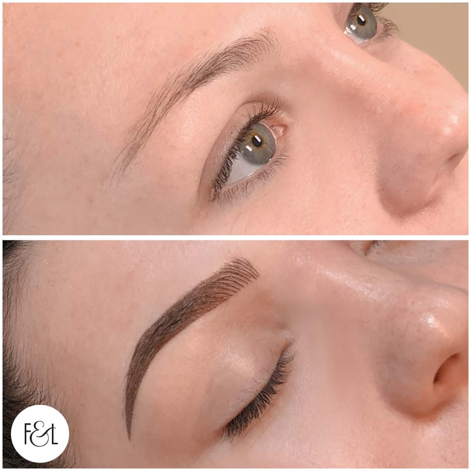 Before and after Combo eyebrow tattoo.